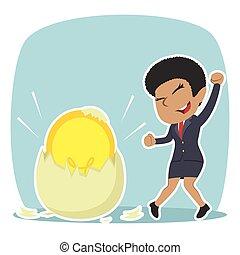 African businesswoman got her idea hatched from egg illustration design