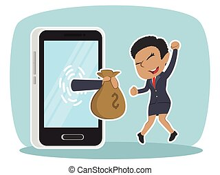 African businesswoman happy got money from smartphone