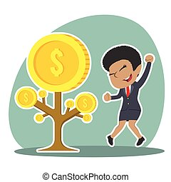 African businesswoman happy her coin tree grow