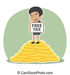African businesswoman holding free tax sign on pile of coins