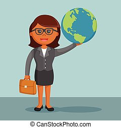 African businesswoman holding the globe in his hands