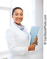 african businesswoman in office