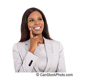 african businesswoman looking up