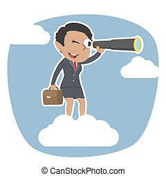 African businesswoman on clouds looking through monocular