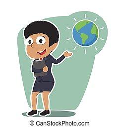 African businesswoman presenting earth globe