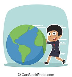 African businesswoman pushing earth