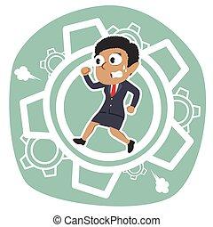African businesswoman running inside gears