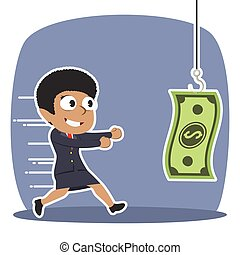 African businesswoman running to money bait illustration design