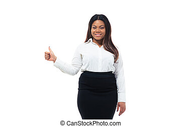 African businesswoman showing thumb up