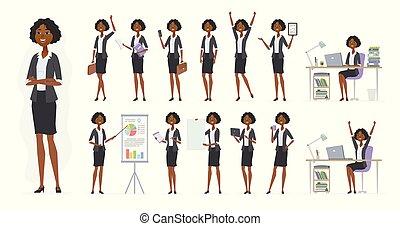 African businesswoman - vector cartoon people character set