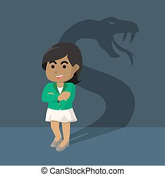 African businesswoman with shadow snake
