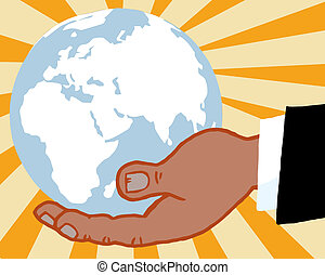 African Bussines Hand Holding Globe