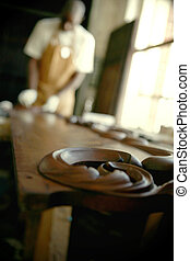 African Carpenter Finishing Antiques