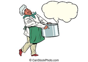 African chef holding a hot pot, cloud of steam