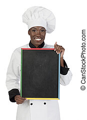 african chef with board
