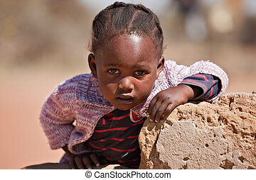 African child - small African girl portrait , outdoors, ...