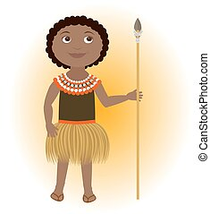 African child wearing traditional costume with lance.