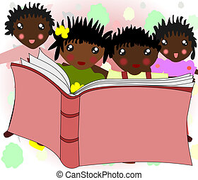 African children are reading a book together