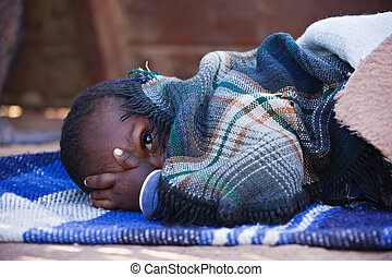 African children - Portrait of African child sleeping in the...