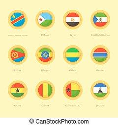 African Circular Flags (DR Congo, Egypt, Ethiopia) - ...