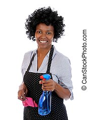 African Cleaning Woman - Lovely smiling African lady with...