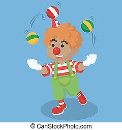african Clown boy juggling ball