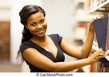 african college girl looking for book