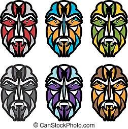 african colorful masks set vector design template