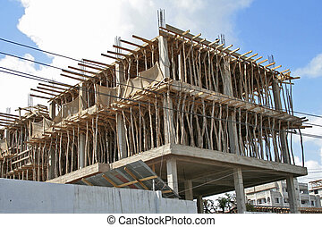 Wooden scaffolding on building site in Dar Es Salaam, capital of Tanzania
