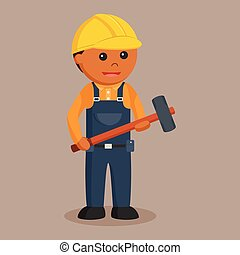 African construction worker with sledgehammer