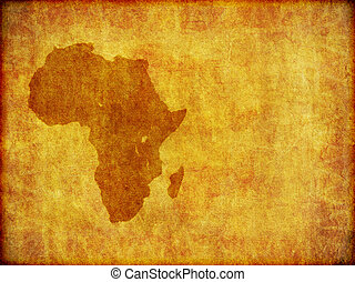 African Continent Grunge Background With Room For Text - A...