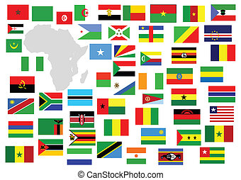 African Continent with country flags