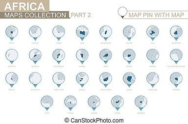 African countries detailed map collection, blue map pin with country map. Part 2.