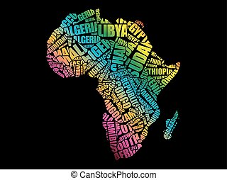 African countries map in typography word cloud concept, names of ...