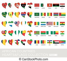 African countries set, hearts and flags, part 1