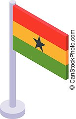 African country flag icon, isometric style