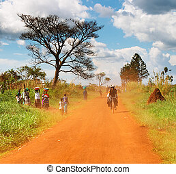 African countryside - African landscape with dusty road,...