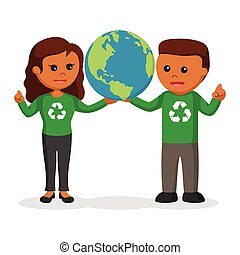 African couple environmental activist holding earth