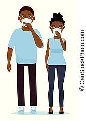 African couple wearing surgical mask against white...