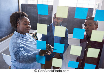 African coworkers strategizing with sticky notes on a glass...