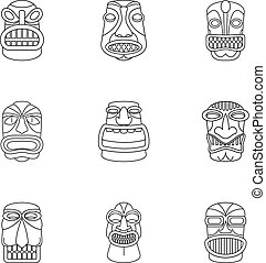 African culture icons set, outline style
