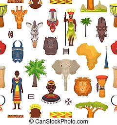 African culture vector characters in traditional clothing in Africa with ethnic tribal mask or drums in safari travel wildlife with animals in savanna set illustration seamless pattern background