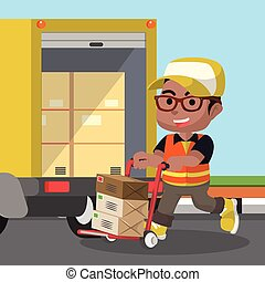 African delivery service loading the package