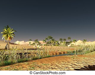 African desert with lavish and vibrant plant life 3d...