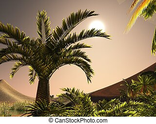 African desert with rich and vibrant plant life 3d rendering...
