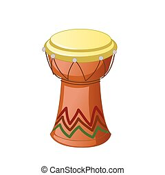 African Djembe Drum isolated on a white background. Vector illustration