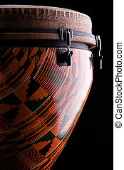 African Djembe Drum Isolated on black