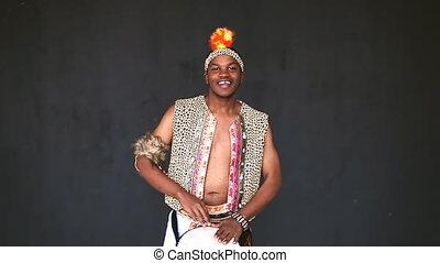 African Djembe drumming smile
