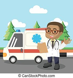 African doctor standing in front of ambulance car
