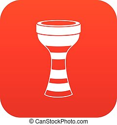 African drum icon digital red for any design isolated on...